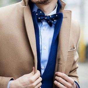 Blue bowtie with coat