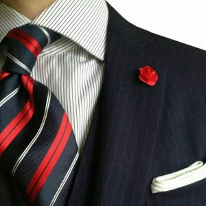 stripes with white pocket square