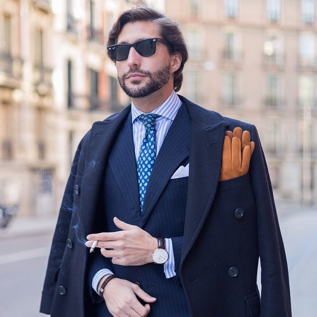 gloves as pocket square sprezzatura
