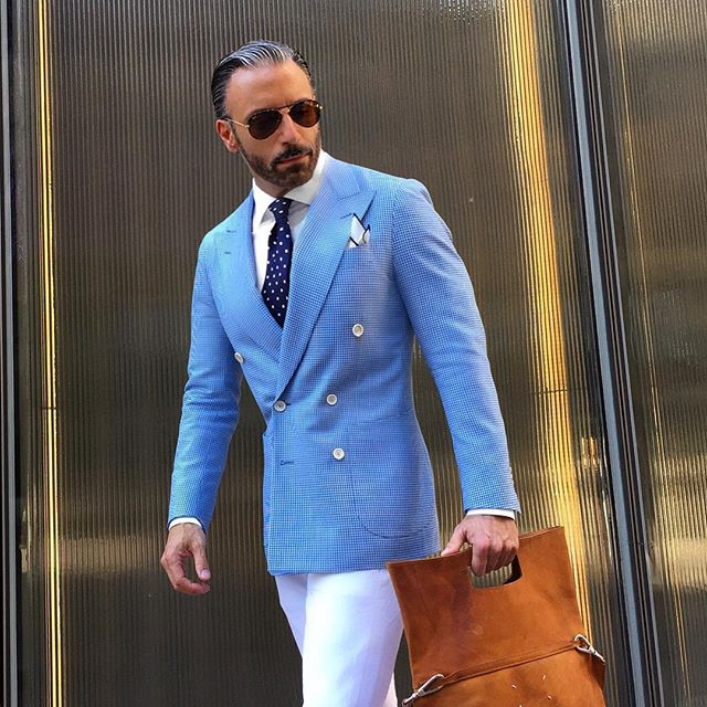 Christopher Korey blue Double Breasted Jacket