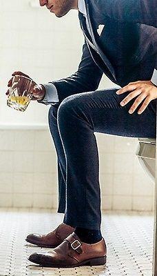 brown shoes dark socks