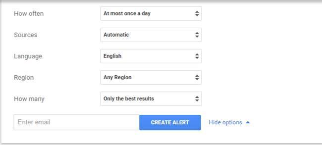 Google Alerts Options