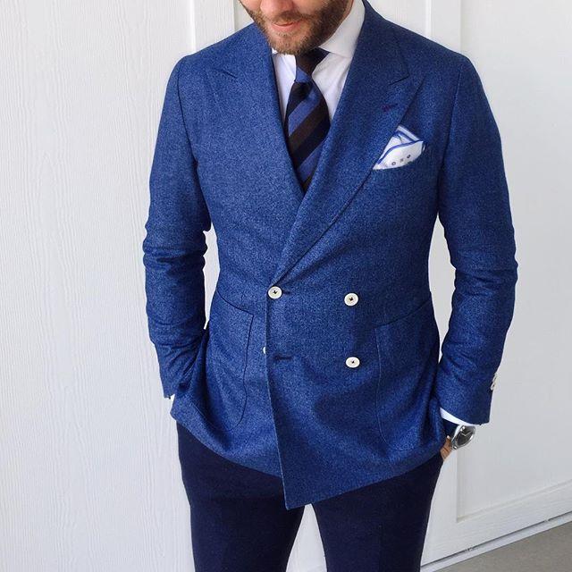 Jason Yeats double breasted blue jacket