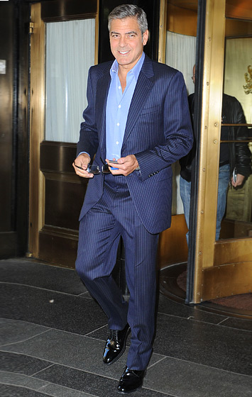 George Clooney Suit with no tie and open collar