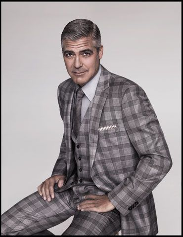 George Clooney in gray plaid suit