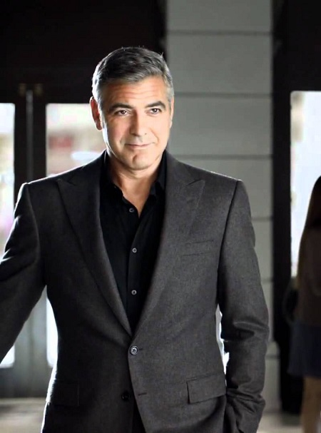 George Clooney in monochromatic suit and shirt